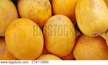 Many Ripe Mouth-watering Yellow Melons On The Rural Market Close-up.