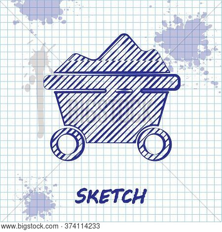 Sketch Line Coal Mine Trolley Icon Isolated On White Background. Factory Coal Mine Trolley. Vector I