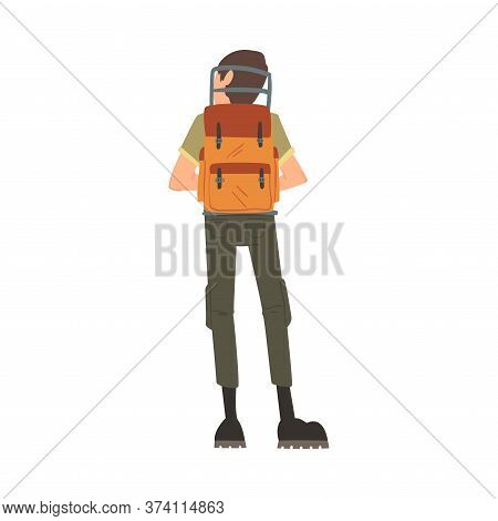 Man Forest Ranger With Backpack, View From Behind, , National Park Service Employee Character In Uni