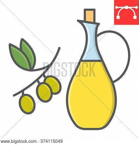 Bottle Of Olive Oil With Branch Color Line Icon, Cook And Keto Diet, Olive Oil Sign Vector Graphics,