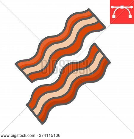 Bacon Color Line Icon, Food And Keto Diet, Bacon Stripes Sign Vector Graphics, Editable Stroke Color
