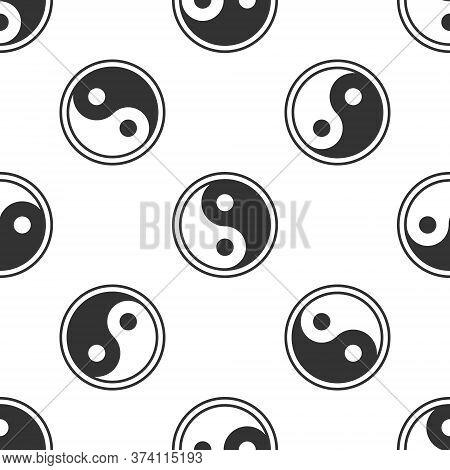 Grey Yin Yang Symbol Of Harmony And Balance Icon Isolated Seamless Pattern On White Background. Vect