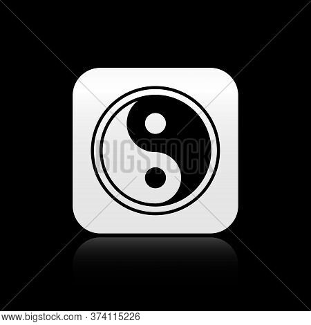 Black Yin Yang Symbol Of Harmony And Balance Icon Isolated On Black Background. Silver Square Button