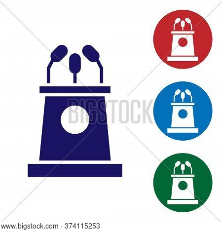Blue Stage Stand Or Debate Podium Rostrum Icon Isolated On White Background. Conference Speech Tribu