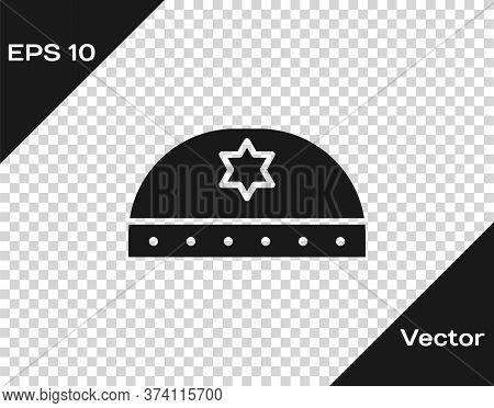 Black Jewish Kippah With Star Of David Icon Isolated On Transparent Background. Jewish Yarmulke Hat.