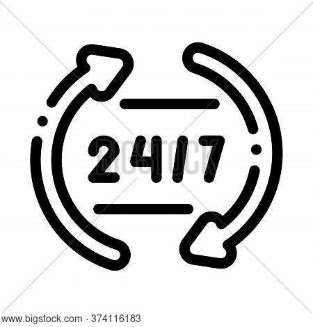 Webshop Working Day And Night Icon Vector. Webshop Working Day And Night Sign. Isolated Contour Symb