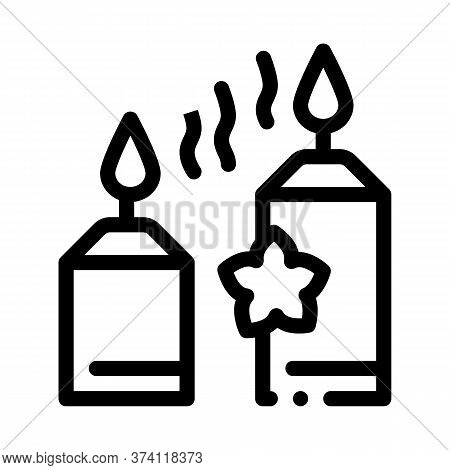 Aromatic Burning Candles Icon Vector. Aromatic Burning Candles Sign. Isolated Contour Symbol Illustr
