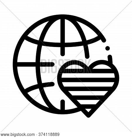 Lgbt World Free Love Icon Vector. Lgbt World Free Love Sign. Isolated Contour Symbol Illustration