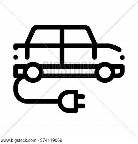 Electro Car Charging Socket Icon Vector. Electro Car Charging Socket Sign. Isolated Contour Symbol I