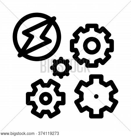 Electro Car Lightning And Gears Icon Vector. Electro Car Lightning And Gears Sign. Isolated Contour