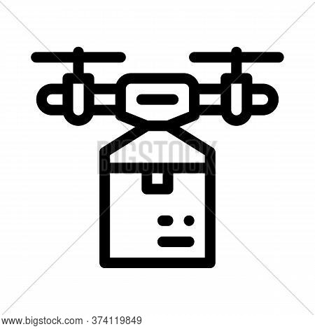 Drone Box Delivering Icon Vector. Drone Box Delivering Sign. Isolated Contour Symbol Illustration