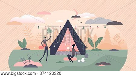 Glamping, Camping And Outdoor Romantic Activity In Flat Tiny Persons Concept Vector Illustration. Ou