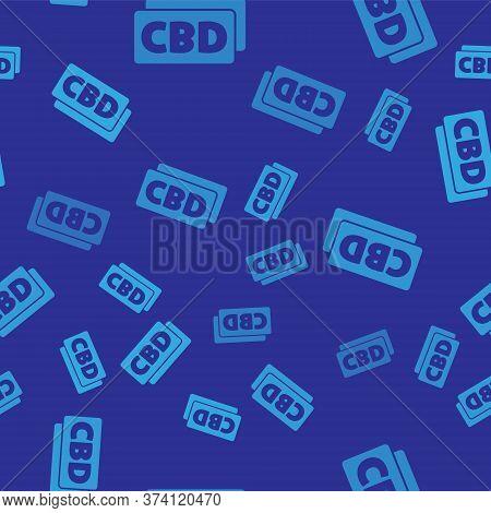 Blue Cannabis Molecule Icon Isolated Seamless Pattern On Blue Background. Cannabidiol Molecular Stru