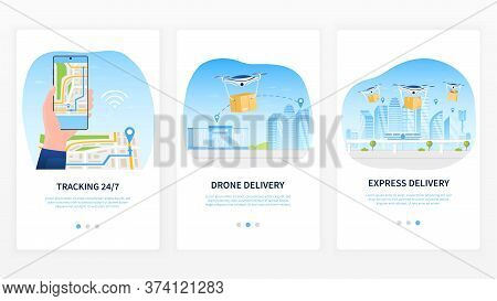 Drone Delivery Service Concept. Delivery Tracking Using A Mobile Application. Map For Shipment Track