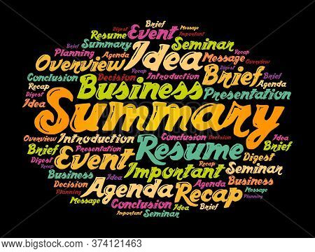 Summary Word Cloud Collage, Business Concept Background