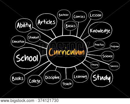 Curriculum Mind Map, Education Concept For Presentations And Reports
