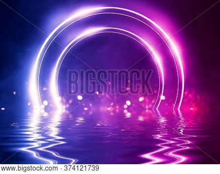 Light Neon Effect, Energy Waves On A Dark Abstract Background. Neon Circle Shape In The Center Of Th
