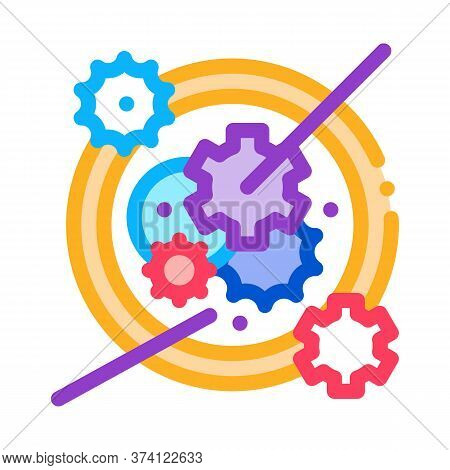 Watch Mechanism Icon Vector. Watch Mechanism Sign. Color Symbol Illustration