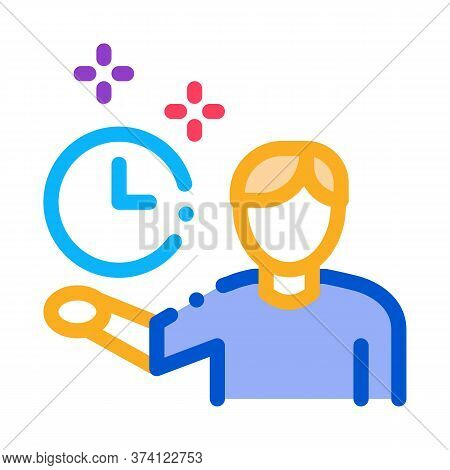 Human Fixed Clock Icon Vector. Human Fixed Clock Sign. Color Symbol Illustration