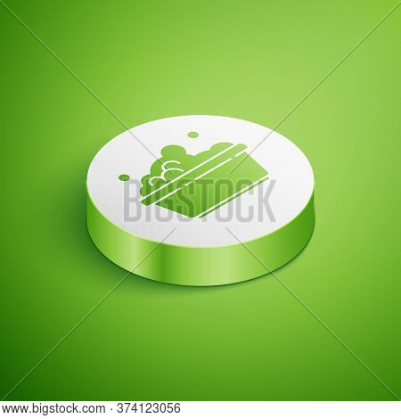 Isometric Plastic Basin With Soap Suds Icon Isolated On Green Background. Bowl With Water. Washing C