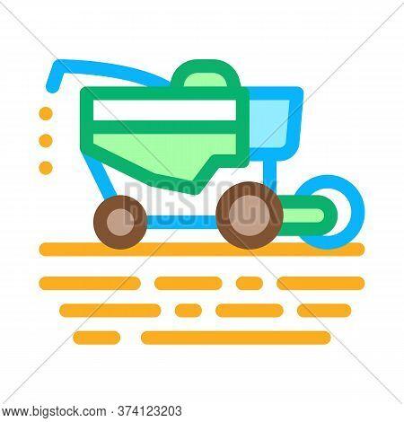 Soy Harvesting Machine Icon Vector. Soy Harvesting Machine Sign. Color Symbol Illustration