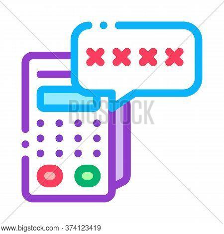 Pos Terminal Pin Code Icon Vector. Pos Terminal Pin Code Sign. Color Symbol Illustration