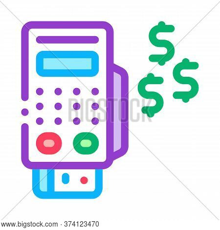 Pos Terminal Payment Icon Vector. Pos Terminal Payment Sign. Color Symbol Illustration