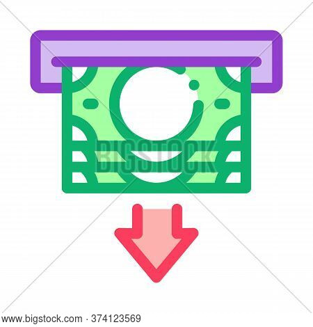 Receiving Money From Atm Icon Vector. Receiving Money From Atm Sign. Color Symbol Illustration
