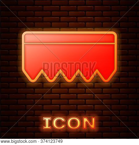 Glowing Neon Sponge With Bubbles Icon Isolated On Brick Wall Background. Wisp Of Bast For Washing Di