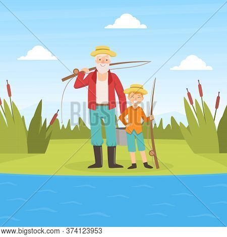 Grandfather And Grandson Going Fishing, Grandparent And Grandchild Having Good Time Together At Sunn
