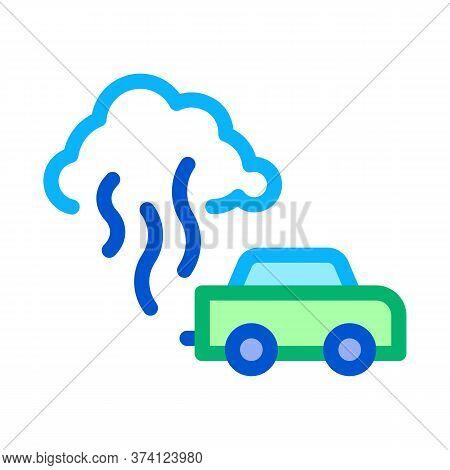 Car Smog Smoke Icon Vector. Car Smog Smoke Sign. Color Symbol Illustration