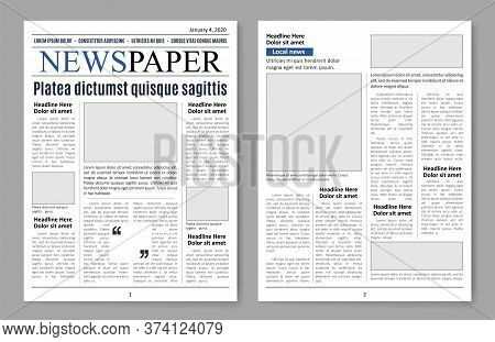 Newspaper Pages, Paper Sheets Media Template For Design