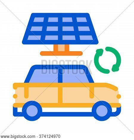 Electro Car Solar Panel Icon Vector. Electro Car Solar Panel Sign. Color Symbol Illustration