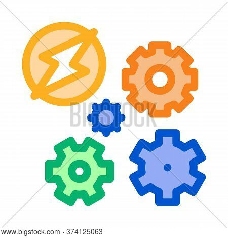 Electro Car Lightning And Gears Icon Vector. Electro Car Lightning And Gears Sign. Color Symbol Illu
