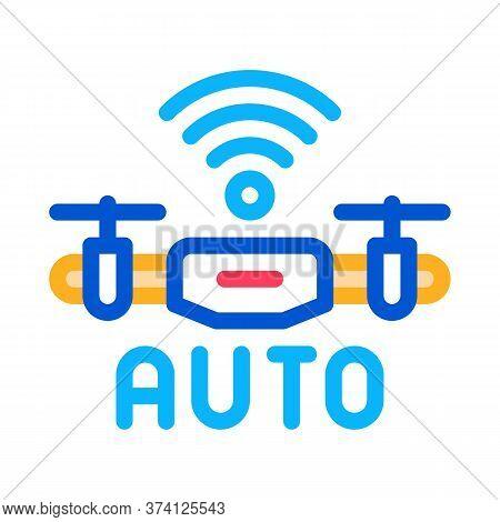 Drone Auto Return Home Icon Vector. Drone Auto Return Home Sign. Color Symbol Illustration