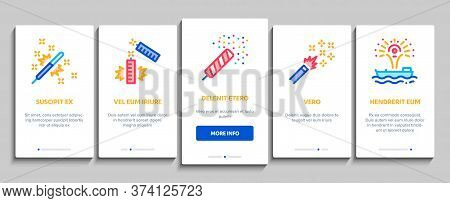 Firework Pyrotechnic Onboarding Mobile App Page Screen Vector Flash Rocket And Salute, Christmas Exp