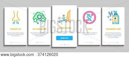Odor Aroma And Smell Onboarding Mobile App Page Screen Vector. Nose Breathing Aromatic Odor And Clea