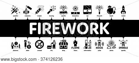 Firework Pyrotechnic Minimal Infographic Web Banner Vector. Flash Rocket And Salute, Christmas Explo