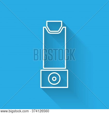 White Line Inhaler Icon Isolated With Long Shadow. Breather For Cough Relief, Inhalation, Allergic P