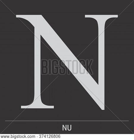Uppercase Nu Greek Letter Icon On Dark Background