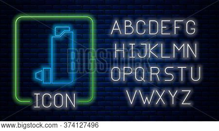 Glowing Neon Inhaler Icon Isolated On Brick Wall Background. Breather For Cough Relief, Inhalation,