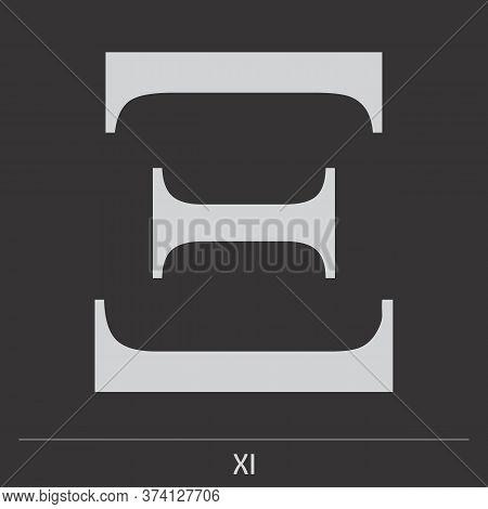 Uppercase Xi Greek Letter Icon On Dark Background