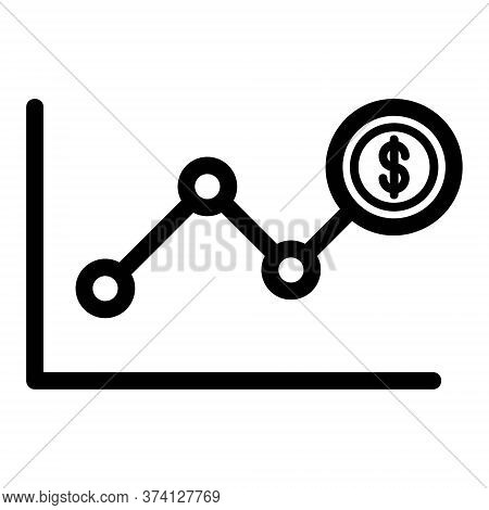 Increase Money Icon. Investment Growth, Economy Progress Chart. Dollar Currency Increase Graph. Line