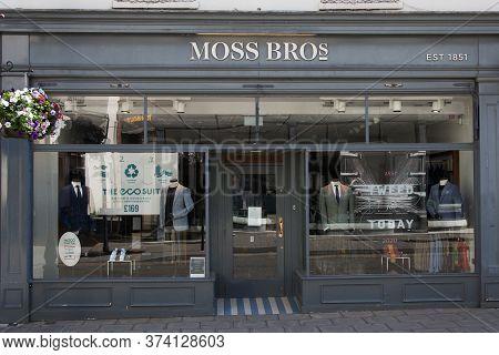 The Moss Bros Menswear Retailers In Cheltenham, Gloucestershire In The Uk Taken 1st June 2020