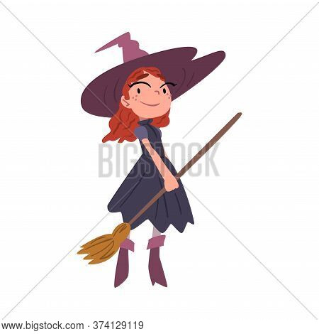 Cute Red Haired Girl Witch Standing With Broom Wearing Purple Dress And Hat, Cute Halloween Cartoon