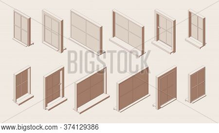 Isometric Outline Set Of Closed Windows With Sill And Low Tide In Various Foreshortening Views.