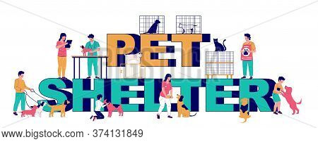 Pet Shelter Typography Banner Template, Vector Flat Illustration