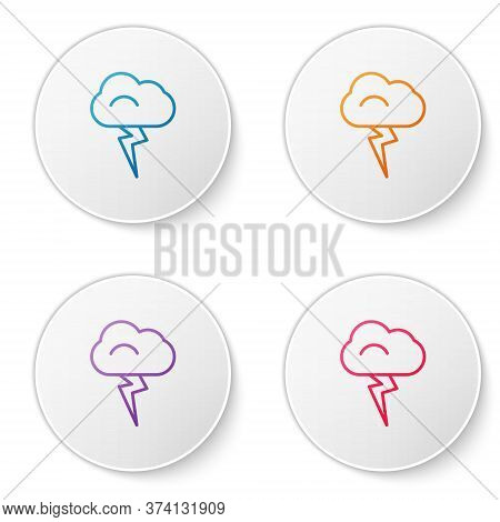 Color Line Storm Icon Isolated On White Background. Cloud And Lightning Sign. Weather Icon Of Storm.