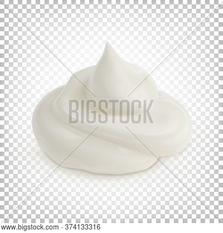 White Sauce, Cream, Mousse Is Isolated On A White Transparent Background. Vector 3d Illustration.