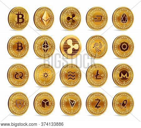 Cryptocurrency Physical Coins Set. 3d Golden Crypto Currency Coins Isolated On White Background. Bit